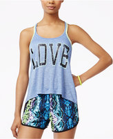 Material Girl Active Juniors' Crisscross-Back Graphic Tank Top, Only at Macy's