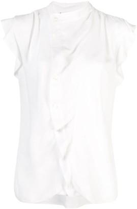 Derek Lam 10 Crosby Short Sleeve Draped Blouse with Asymmetrical Placket