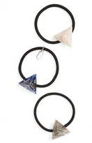Tasha Set Of Three Pyramid Charm Ponytail Holders