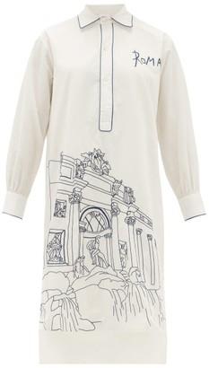 Kilometre Paris - Rome Embroidered Cotton Pyjama Shirt - White Multi
