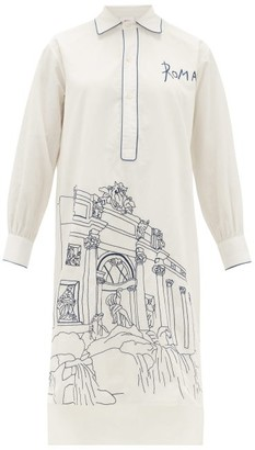Kilometre Paris - Rome Embroidered Cotton Pyjama Shirt - Womens - White Multi