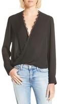 L'Agence Women's Rosario Lace Trim Silk Surplice Blouse