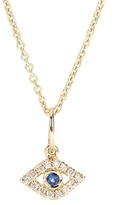 Sydney Evan Evil Eye 14kt Yellow Gold Necklace With Sapphire And Diamonds