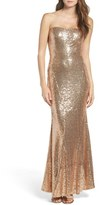 LuLu*s Strapless Sequin Mermaid Gown