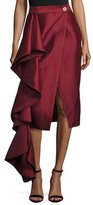 SOLACE London Aideen Cascade Ruffle Taffeta Skirt, Wine