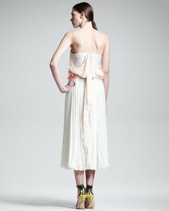 J. Mendel Floral-Waist Pleated Silk Dress, Cream
