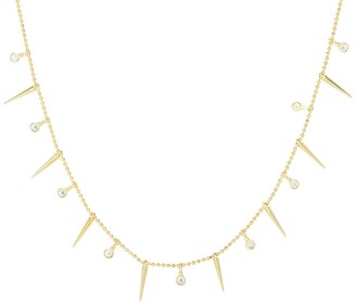 Sphera Milano 14K Yellow Gold Plated Sterling Silver CZ & Spike Charm Necklace
