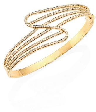 Hueb Wave Diamond & 18K Yellow Gold Bangle Bracelet
