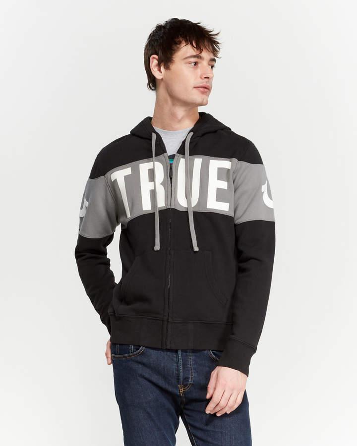 True Religion Logo Panel Zip Hoodie