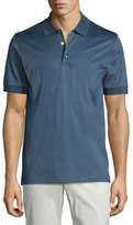 Brioni Heathered Knit Polo Shirt, Blue