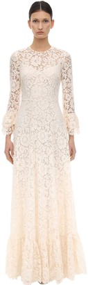 Valentino Long Lace Dress W/ Ruffles