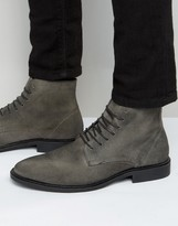 New Look New Look Waxed Suede Boot In Grey