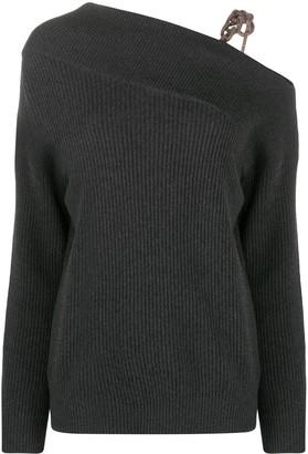 Brunello Cucinelli One-Shoulder Braided Sweater