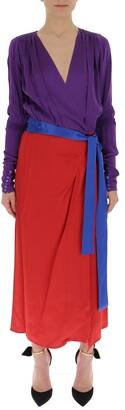 ATTICO Contrast Wrapped Belt Dress
