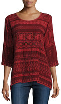 Johnny Was Embroidered Georgette Drop-Shoulder Blouse, Plus Size