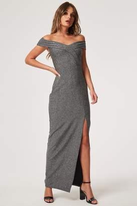 Girls On Film Outlet Pose Silver Foldover Bardot Maxi Dress