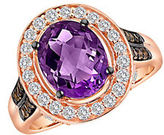 LeVian Amethyst, Smoky Quartz, White Sapphire and 14K Rose Gold Ring