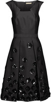 Michael Kors Pleated embellished wool and silk-blend shantung dress