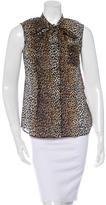 Dolce & Gabbana Bow-Accent Leopard Print Top