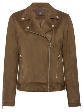 Dorothy Perkins Womens Khaki Suedette Biker Jacket, Khaki