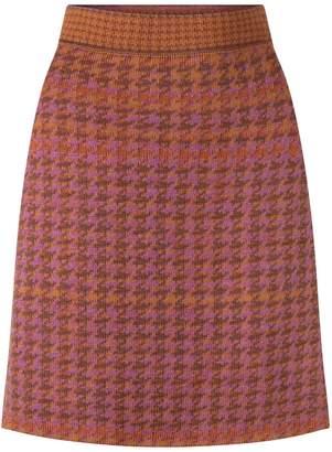 Studio Myr Knitted Knee Length Pencil Skirt In Pieds-De-Poule Pattern Tweed-Heather