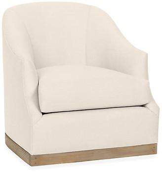 One Kings Lane Bridget Swivel Club Chair - Bisque Linen
