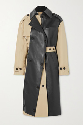 Rokh Belted Two-tone Leather And Cotton-gabardine Trench Coat - Beige