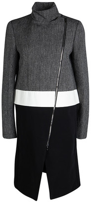 Joseph Tricolor Techno Tweed Zip Detail Preston Long Coat L