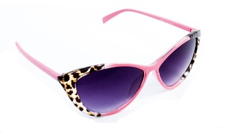 Serelo - Vintage Style Leopard Print Cats Eye Sunglasses (Pink)