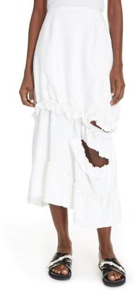 Simone Rocha Distressed Asymmetrical Sequin Tulle Midi Skirt