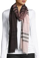 Burberry Ombre Giant Check Scarf, Ash/Rose