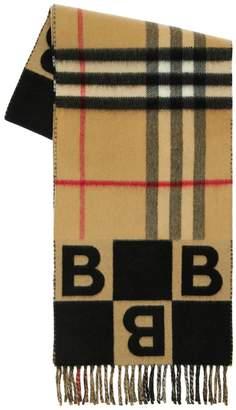 Burberry Geometric B & Giant Check Logo Scarf