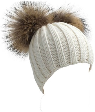 FUNOC Beanie Hat with Adjustable Faux Fur Pom Poms Winter Thick Knit Hat for Women (White)