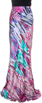 Roberto Cavalli Multicolor Printed Silk Maxi Skirt M