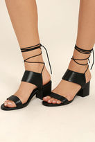 Fahrenheit Salome Black Leather Lace-Up Heels