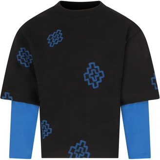 Marcelo Burlon County of Milan Black Sweatshirt For Boy With Blue Cross