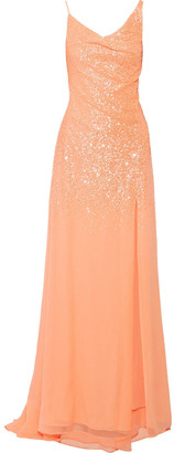 Halston Draped Sequinned Georgette Gown