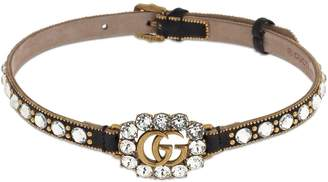 Gucci GG MARMONT CRYSTAL LEATHER CHOKER