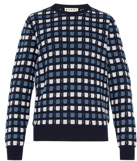 Marni Textured Crew Neck Knitted Cotton Sweater - Mens - Blue