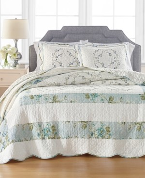 Martha Stewart Collection Quilted Embroidered Floral Queen Bedspread, Created for Macy's
