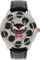 Betsey Johnson Women's Black Imitation Leather Strap Watch 42mm BJ00560-02
