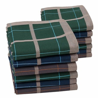 Houlife Mens Handkerchiefs 100% Cotton 60S Classic Checkered Pattern Coloured Plaid Hankies for Dad Grandad Father's Day Gift 6/12 Pieces 43x43cm
