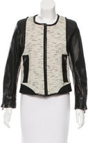 Barbara Bui Leather-Accented Tweed Jacket