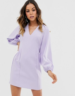 Asos Design DESIGN cape sleeve open back mini dress-Purple