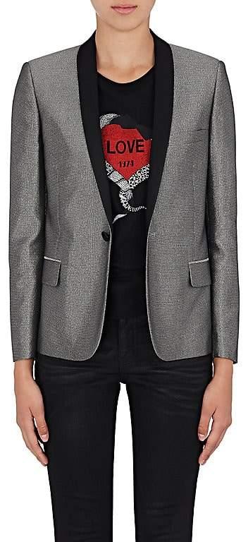 Saint Laurent Women's Satin-Collar Metallic Tuxedo Jacket