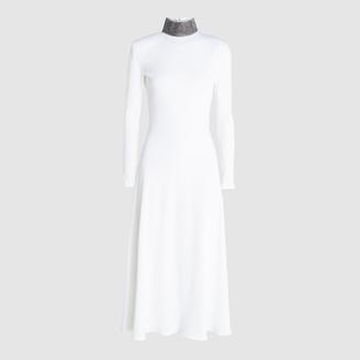 Christopher Kane White Ribbed Jersey Crystal Neck Midi Dress IT 40