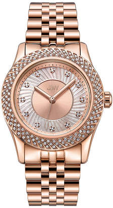 JBW 18K Rose Gold Over Stainless Steel 1/8 CT. T.W Genuine Diamond 3-pc. Watch Boxed Set-J6368b