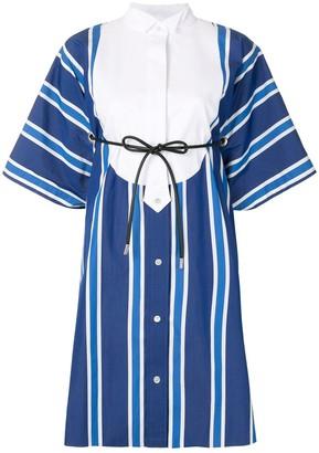 Sacai Striped Drawstring-Waist Shirt Dress
