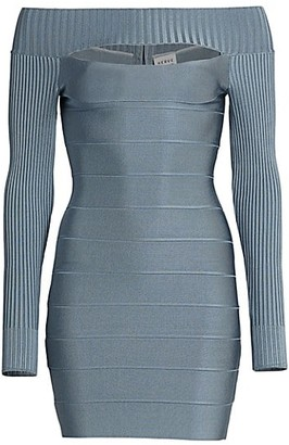 Herve Leger Bandage Ribbed Cutout Bodycon Dress