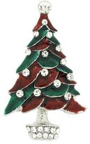 PYNK JEWELLERY Red & Green Enamel with Crystals Christmas Tree Brooch - Silver